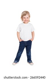 Smiling little girl in white t-shirt isolated on a white background