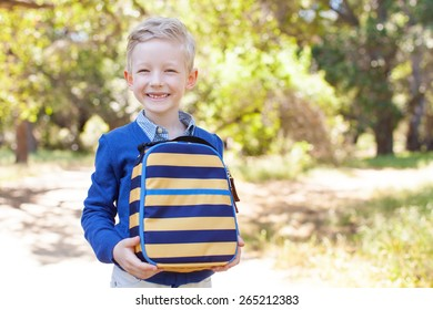 smiling little schoolboy holding lunchbag ready to go to school, back to school concept