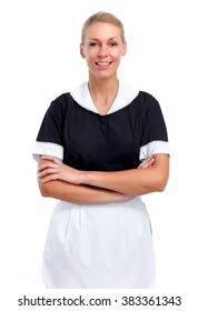 Smiling maid woman.