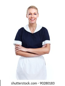 Smiling maid woman. Isolated over white background.