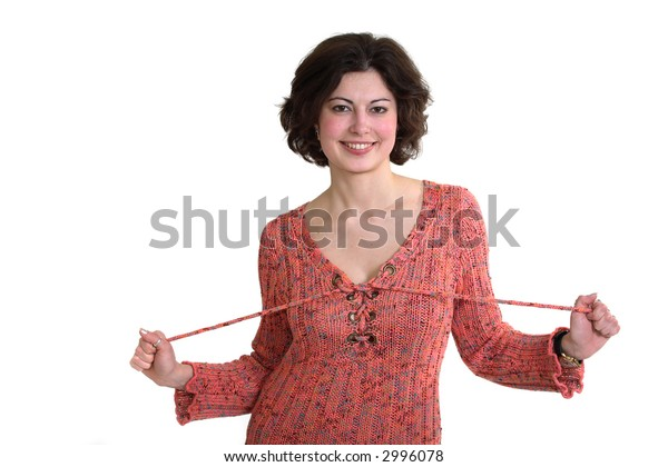 Smiling making look younger Girl in cloth of the red colour