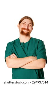 Smiling male nurse or doctor with a beard.  Isolated on white background.