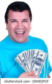smiling man with 100  bills on white background