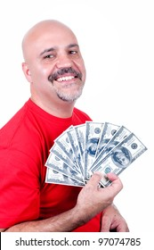 smiling man with $ 100 bills on white background