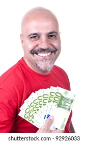 smiling man with 100 euro on white background