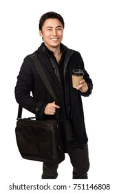 Smiling man in coat holding a coffee cup and computer bag with a smile on his face. White background.