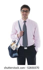 Smiling man with diaper bag