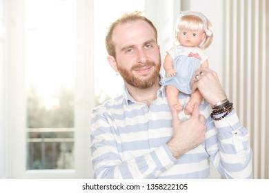 Smiling Man with a Doll on His Shoulder