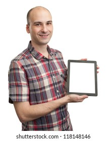 Smiling man holding blank digital tablet. Isolated on white