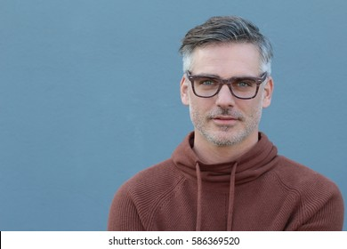 Smiling man isolated on blue background