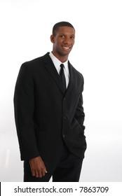 Smiling man on black suit