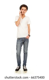 smiling man on phone isolated on a white background