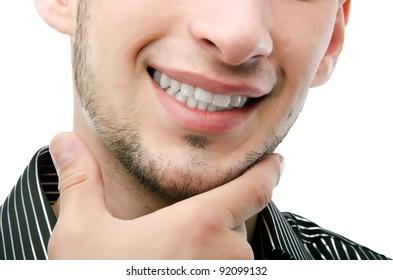 Smiling man portrait isolated background