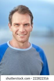 Smiling man portrait. Outdoor shoot
