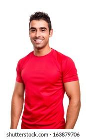 Smiling man posing over white background