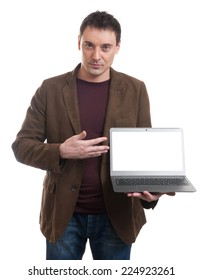 Smiling man presenting his laptop screen against a white background