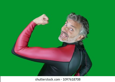 smiling man in professional triathlon suit, isolated over green screen