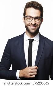 Smiling man in smart suit, portrait