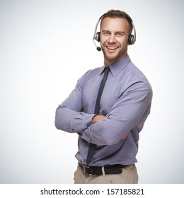 smiling man wearing a headset on blue gradient background