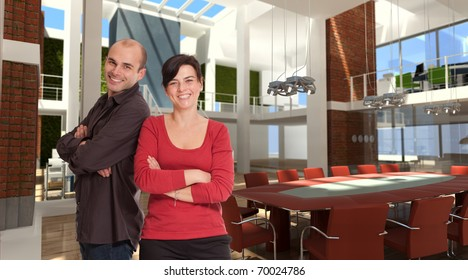Smiling man and woman in a luxurious modern office