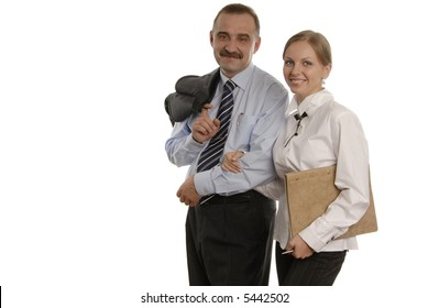 smiling man and a woman in office clothes. Girl is holding documents and the boss with jacket on one shoulder