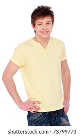 smiling man in yellow t-shirt. isolated on white background