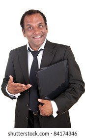 Smiling mature business man with notebook