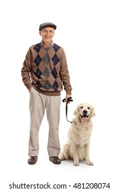 Smiling mature man posing together with his dog isolated on white background
