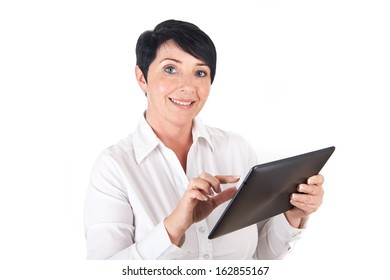 Smiling mature woman with digital tablet