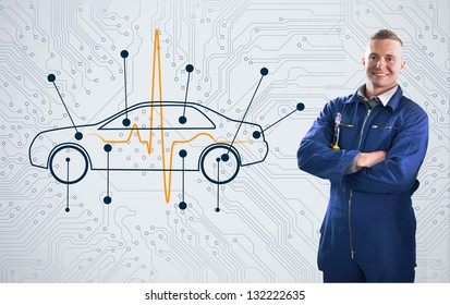 Smiling mechanic standing proudly in front of a diagram car on background