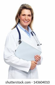 Smiling medical doctor woman with stethoscope. Isolated on white.