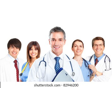 Smiling medical doctors. Isolated over white background
