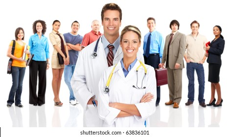 Smiling  medical doctors and people. Over white background