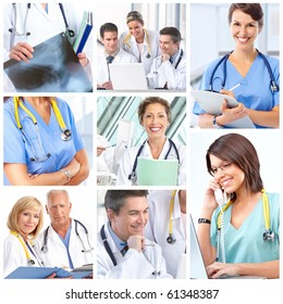 Smiling medical doctors with stethoscope.
