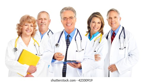 Smiling medical doctors with stethoscope. Isolated over white background