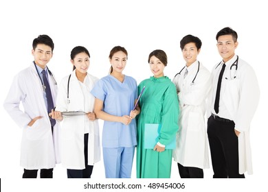 Smiling medical team isolated on white background