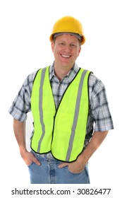 Smiling Mid-age Construction Worker Holding Hardhat Portrait on Isolated Background