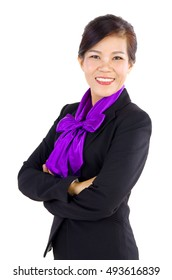 Smiling Middle Aged Asian Business woman over white background