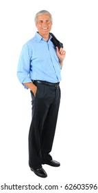 Smiling middle aged businessman standing holding his jacket over his shoulder and one hand in pocket. Business man is in full  length over a white background.