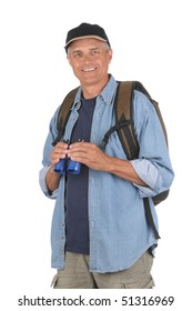 Smiling Middle Aged Man Holding Binoculars. Man is wearing a hat and an  outer shirt over a blue t-shirt and carrying a backpack. Shot is a 3/4 view of the man in vertical format isolated over white.
