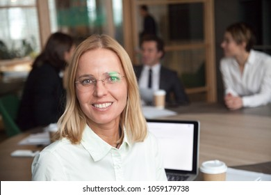 Smiling middle-aged businesswoman looking at camera at group meeting, friendly female company executive manager or team leader, happy business coach posing in office, woman boss head shot portrait