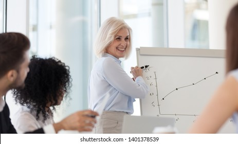 Smiling middle-aged female coach presenting business plan, strategy or new project results on flipchart, mature businesswoman holding briefing, staff training, make presentation on whiteboard close up