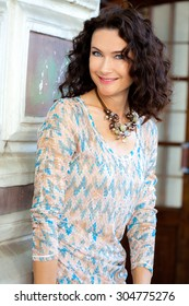 smiling middle-aged woman portrait