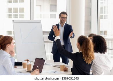 Smiling millennial male coach or presenter make flip chart presentation ask question during work training, motivated confident female employee raise hand answer engaged in teamwork at seminar