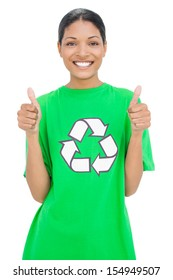 Smiling model wearing recycling tshirt giving thumbs up on white background