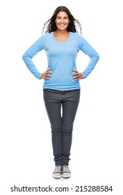 Smiling Modern Young Woman Standing full Length Isolated