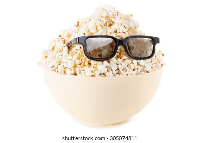 Smiling Monster of popcorn, glasses. Cinema, the audience watching comedy humor. Isolated on white