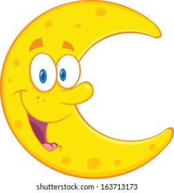 Smiling Moon Cartoon Mascot Character. Raster Illustration Isolated on white