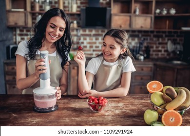 smiling mother and daughter preparing smoothie using blender on the kitchen
