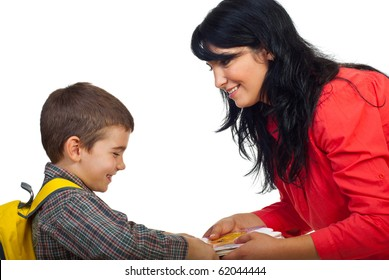 Smiling mother giving books to her son and the boy  laughing and take the books and preparing for school isolated on white background